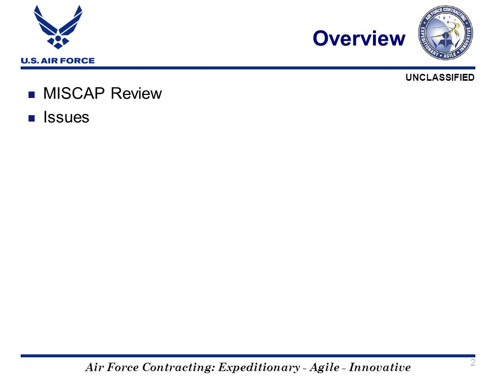 Overview MISCAP Review Issues