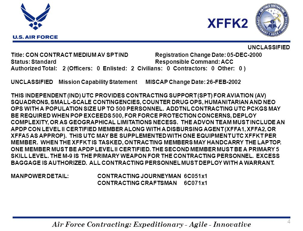 XFFK2 Title: CON CONTRACT MEDIUM AV SPT IND Registration Change Date: 05-DEC-2000. Status: Standard Responsible Command: ACC