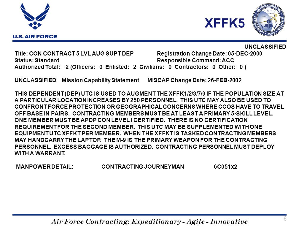 XFFK5 Title: CON CONTRACT 5 LVL AUG SUPT DEP Registration Change Date: 05-DEC-2000. Status: Standard Responsible Command: ACC