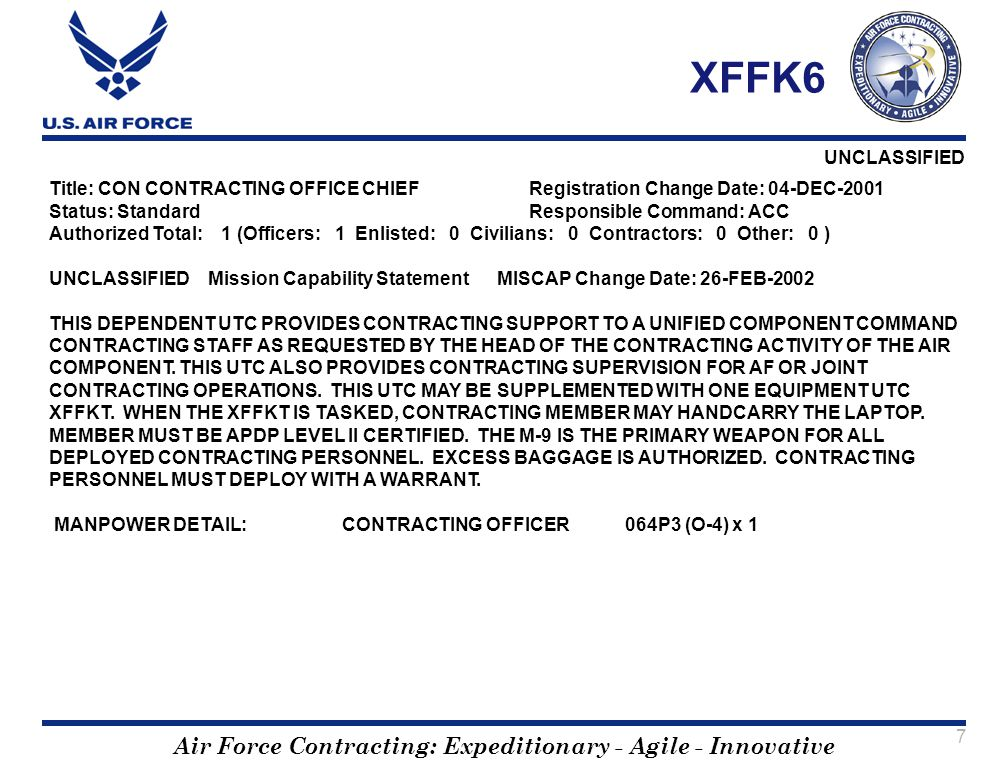 XFFK6 Title: CON CONTRACTING OFFICE CHIEF Registration Change Date: 04-DEC-2001. Status: Standard Responsible Command: ACC.