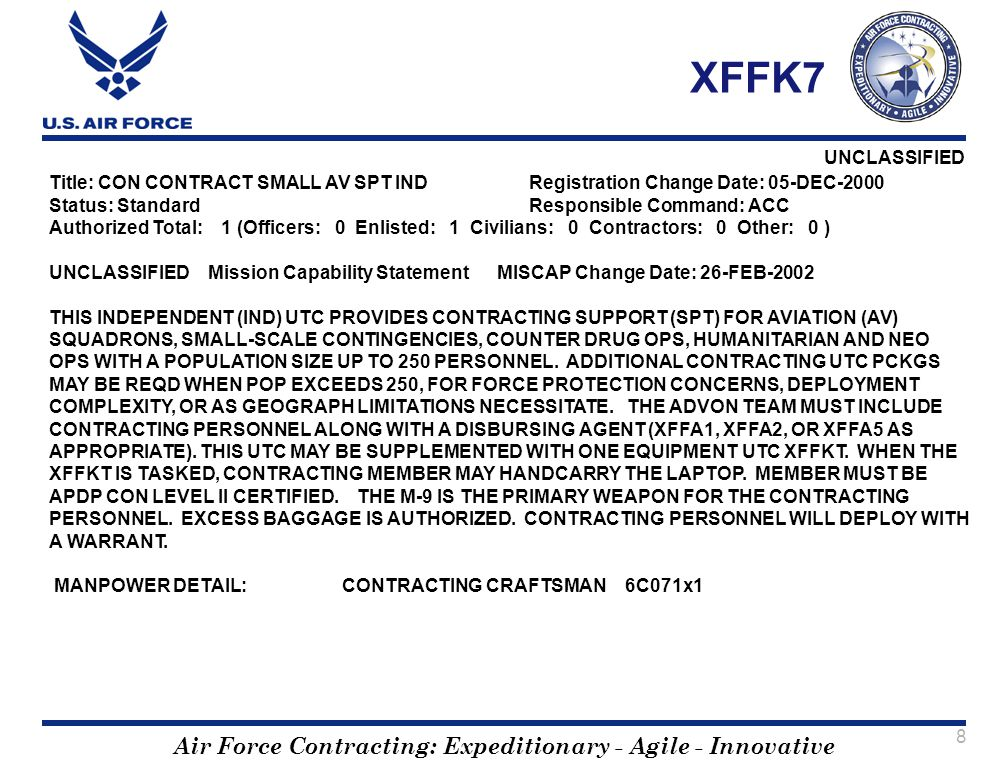 XFFK7 Title: CON CONTRACT SMALL AV SPT IND Registration Change Date: 05-DEC-2000. Status: Standard Responsible Command: ACC.