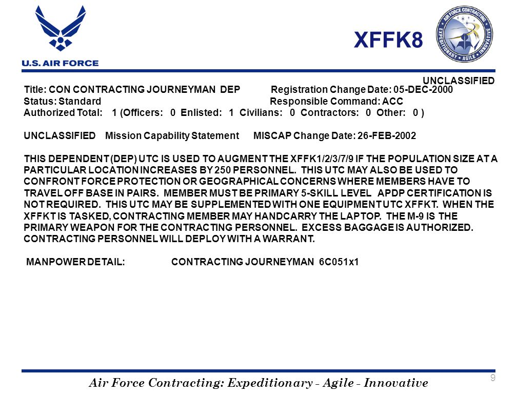 XFFK8 Title: CON CONTRACTING JOURNEYMAN DEP Registration Change Date: 05-DEC-2000. Status: Standard Responsible Command: ACC.