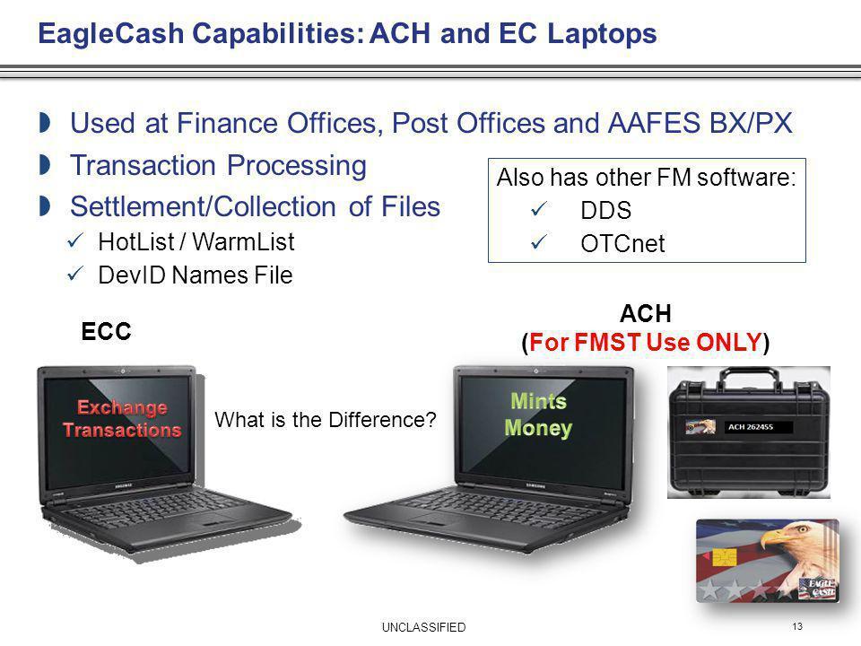 EagleCash Capabilities: ACH and EC Laptops