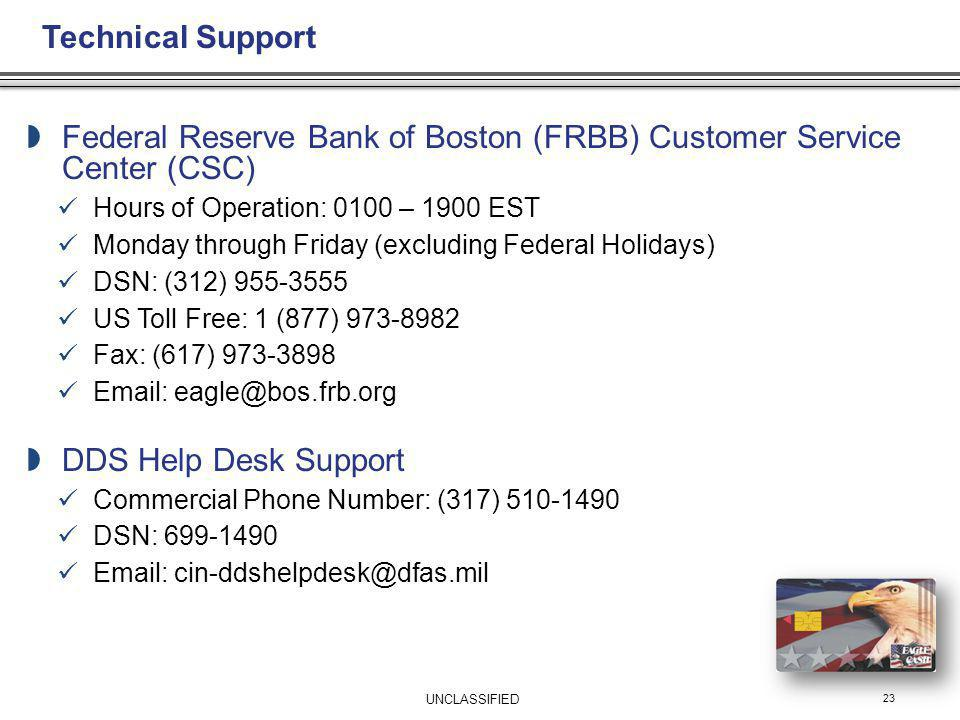 Federal Reserve Bank of Boston (FRBB) Customer Service Center (CSC)