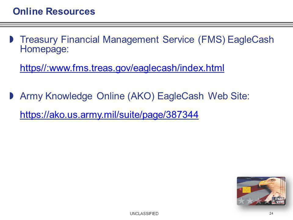 Treasury Financial Management Service (FMS) EagleCash Homepage: