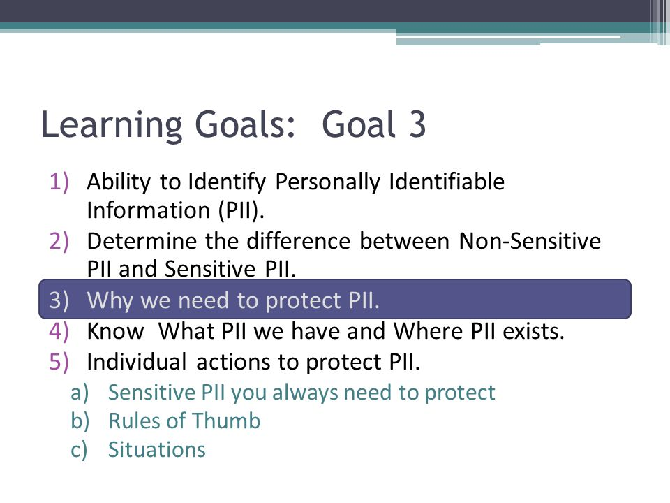 Learning Goals: Goal 3 Ability to Identify Personally Identifiable Information (PII).