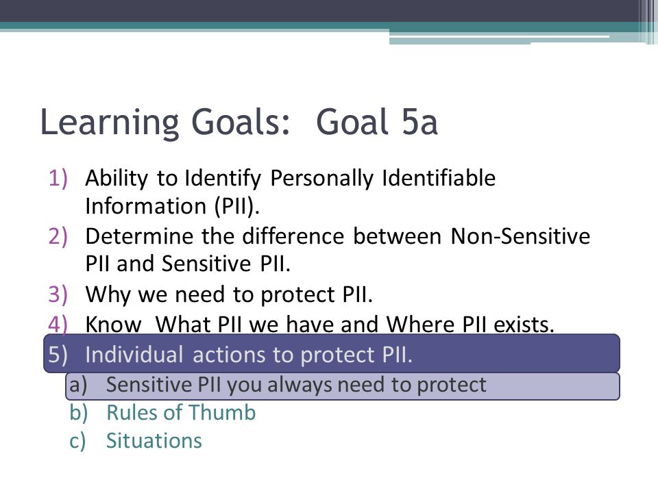 Learning Goals: Goal 5a Ability to Identify Personally Identifiable Information (PII).