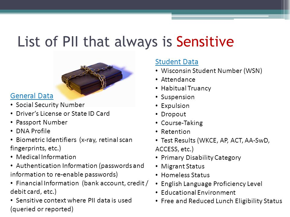 List of PII that always is Sensitive