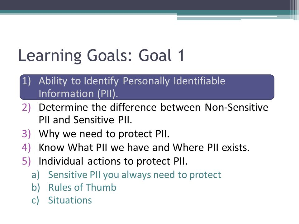 Learning Goals: Goal 1 Ability to Identify Personally Identifiable Information (PII).