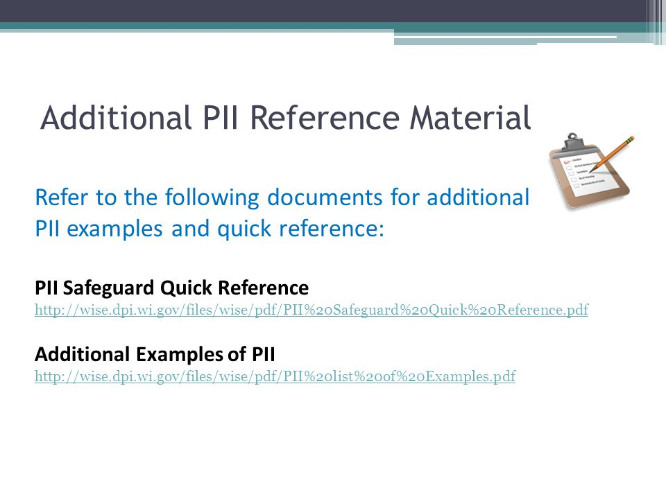 Additional PII Reference Material