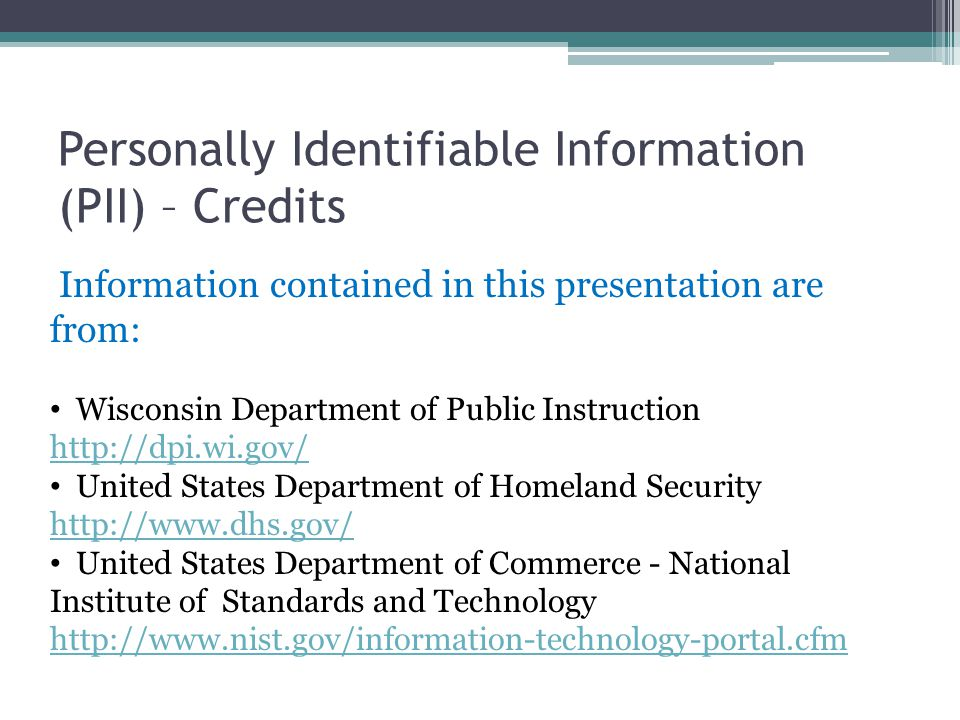 Personally Identifiable Information (PII) – Credits