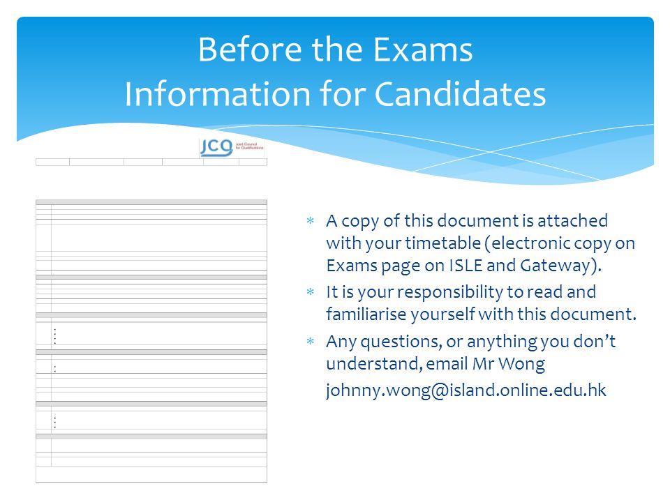 Before the Exams Information for Candidates