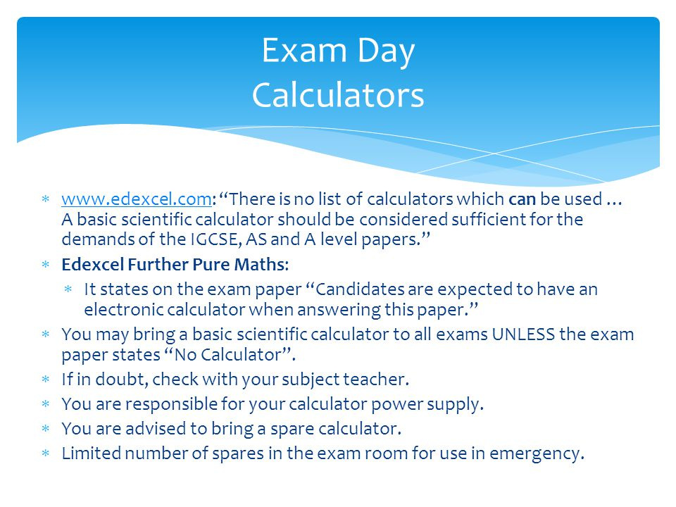 Exam Day Calculators