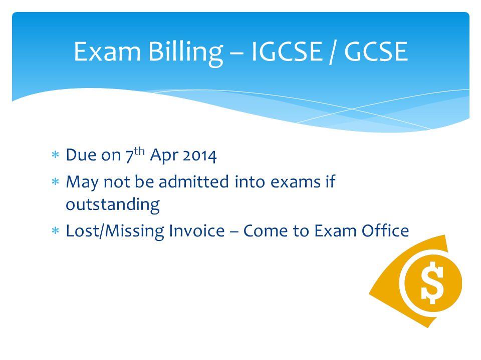 Exam Billing – IGCSE / GCSE