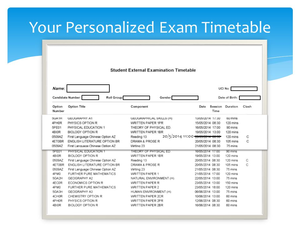 Your Personalized Exam Timetable