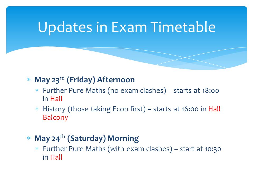 Updates in Exam Timetable
