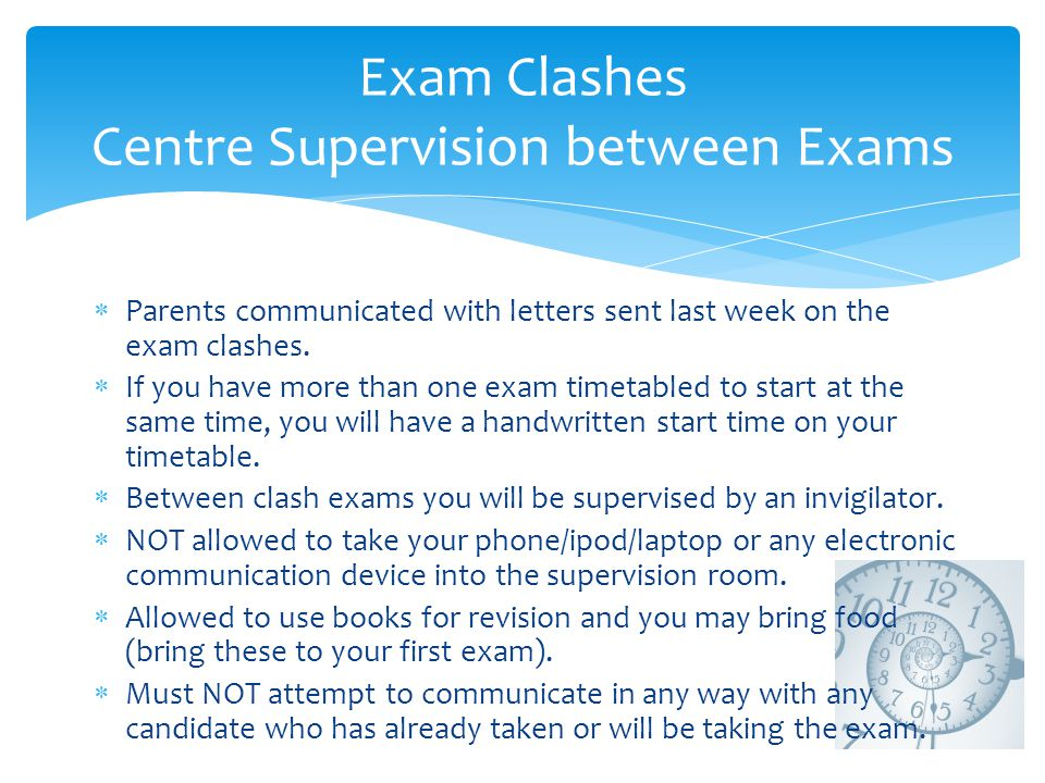 Exam Clashes Centre Supervision between Exams