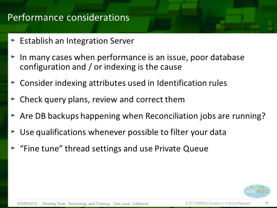 Performance considerations