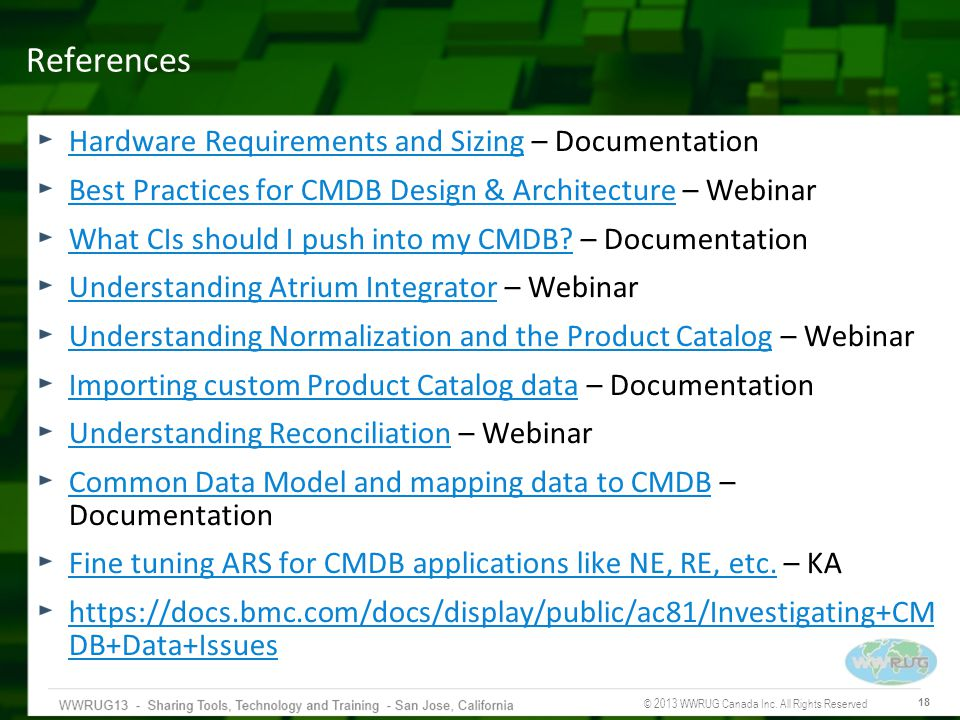 References Hardware Requirements and Sizing – Documentation