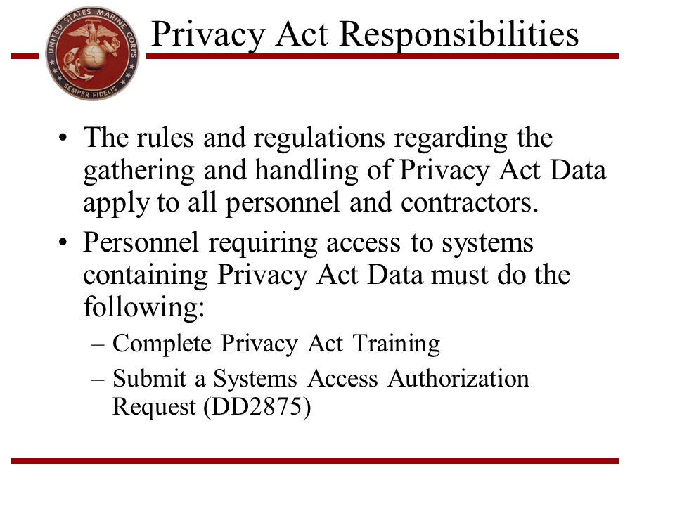 Privacy Act Responsibilities