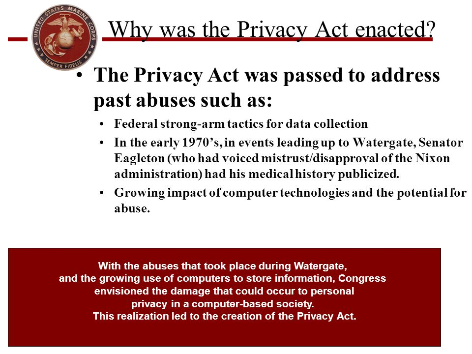 Why was the Privacy Act enacted