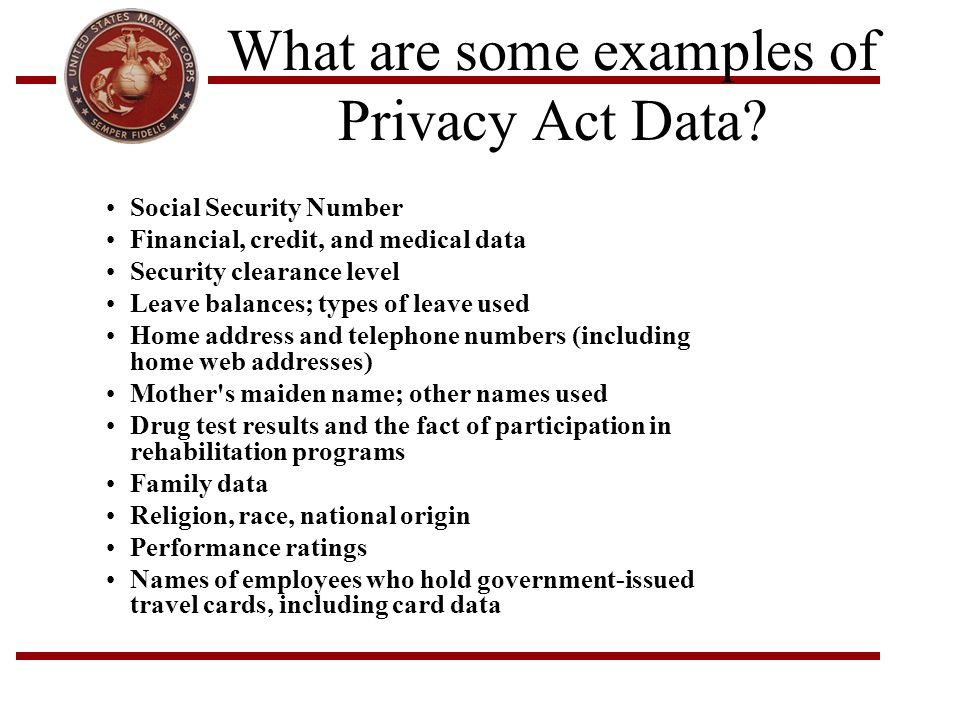 What are some examples of Privacy Act Data