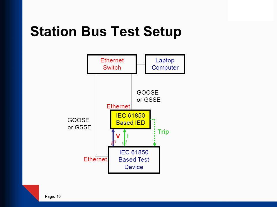 Station Bus Test Setup Ethernet Switch Laptop Computer GOOSE or GSSE