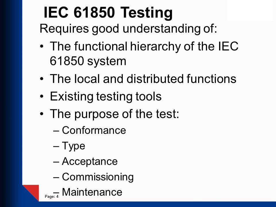 IEC 61850 Testing Requires good understanding of: