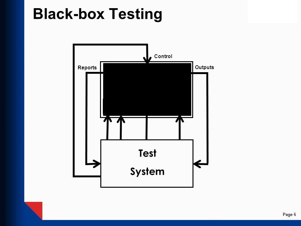 Black-box Testing Control Reports Outputs SFM FE1 FEi FEK Test System