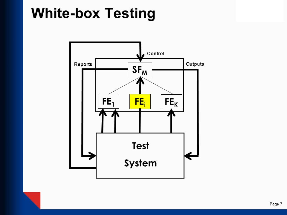 White-box Testing Control Reports Outputs SFM FE1 FEi FEK Test System