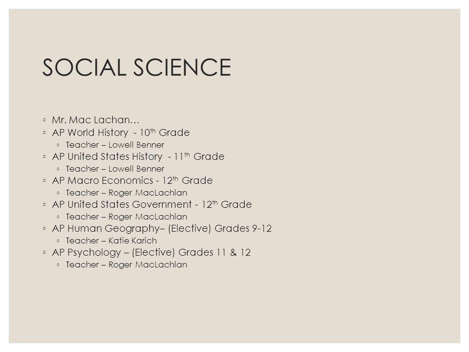 SOCIAL SCIENCE Mr. Mac Lachan… AP World History - 10th Grade