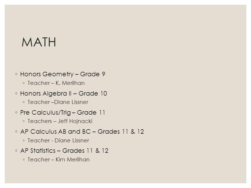 MATH Honors Geometry – Grade 9 Honors Algebra II – Grade 10