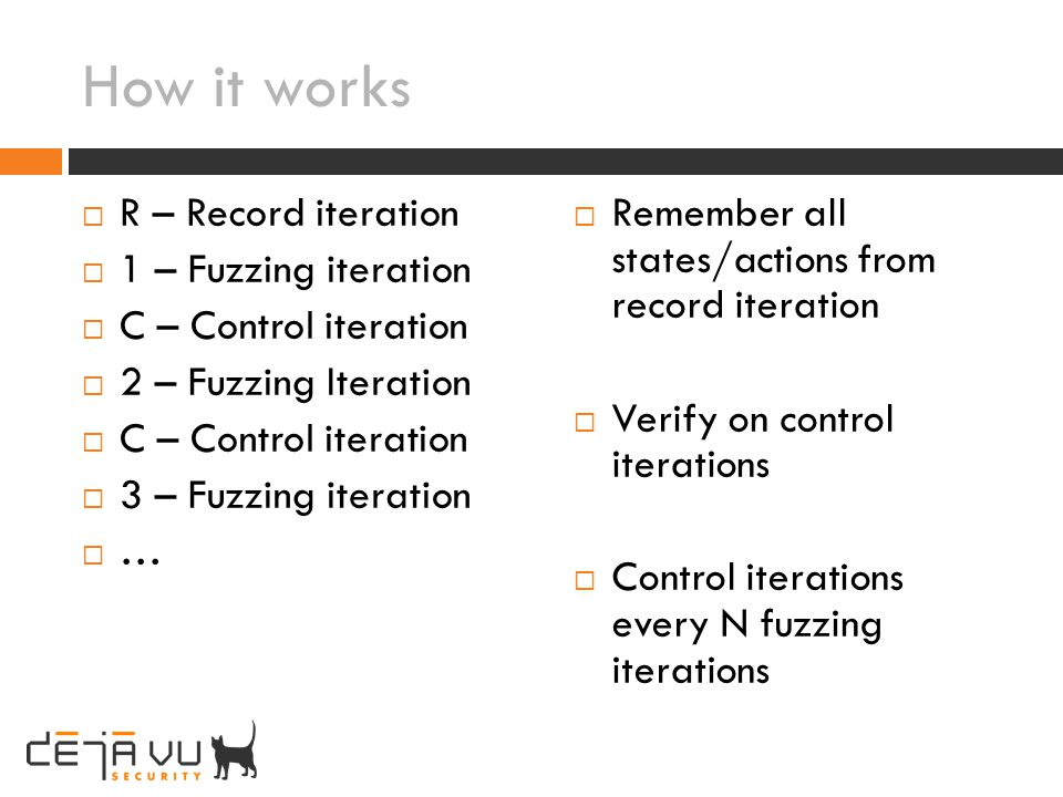 How it works R – Record iteration 1 – Fuzzing iteration