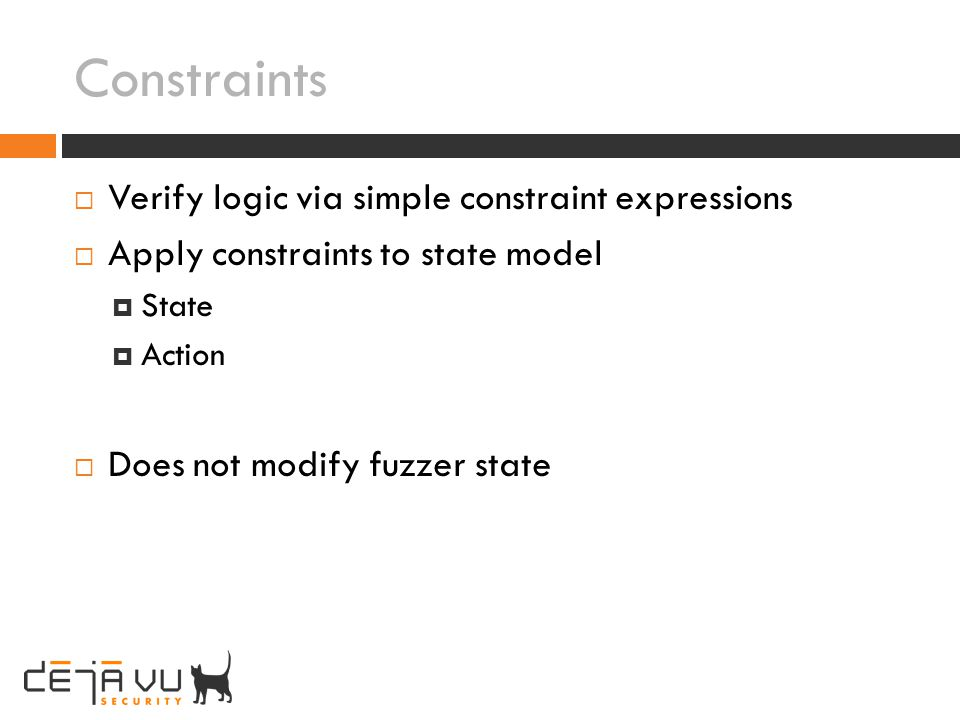Constraints Verify logic via simple constraint expressions