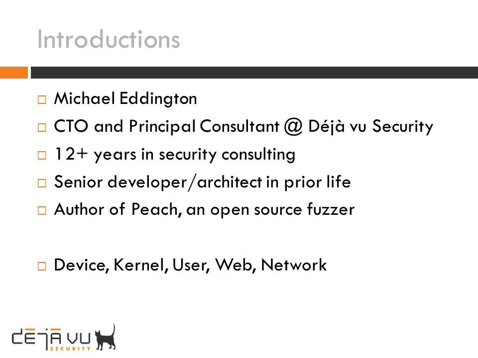 Introductions Michael Eddington