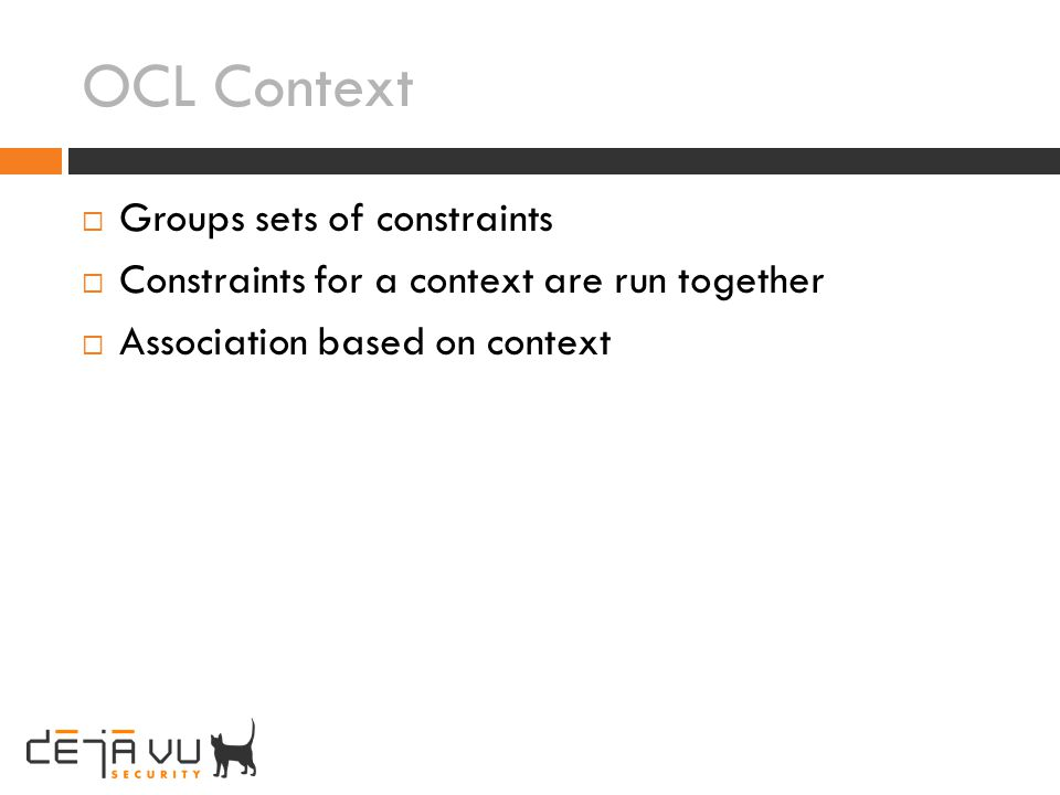 OCL Context Groups sets of constraints