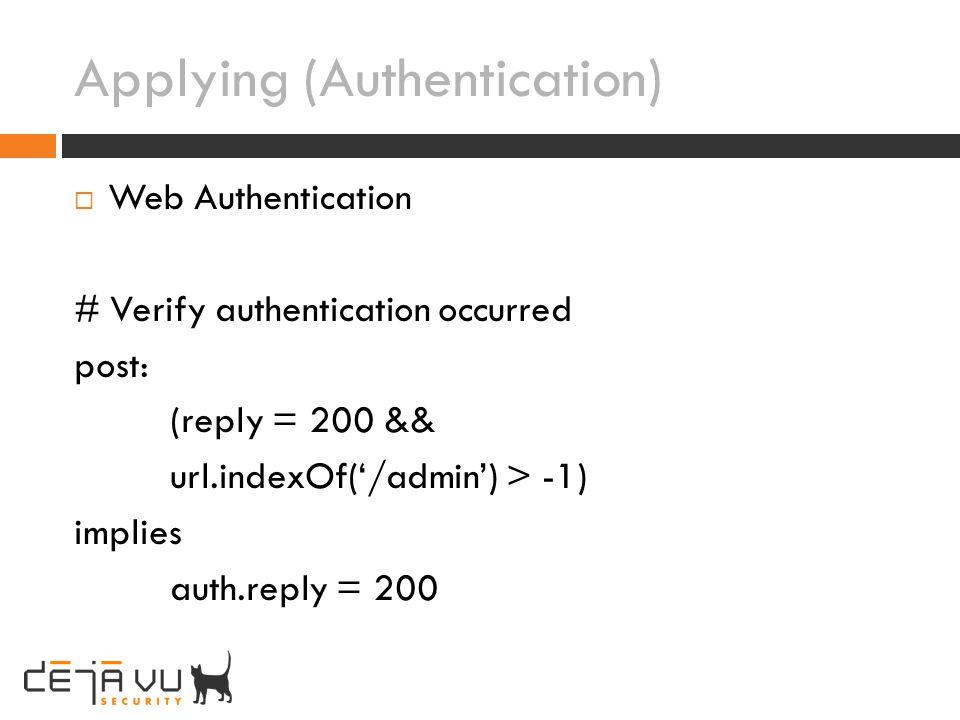 Applying (Authentication)