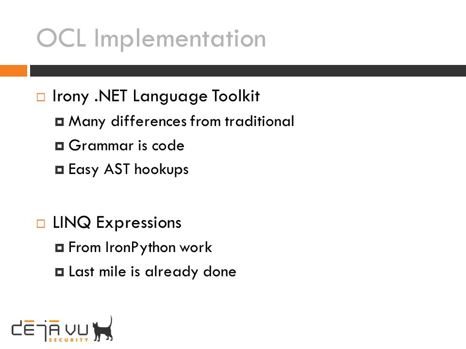 OCL Implementation Irony .NET Language Toolkit LINQ Expressions