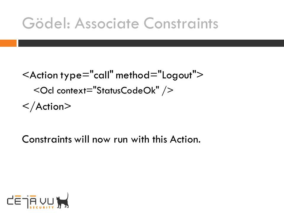 Gödel: Associate Constraints