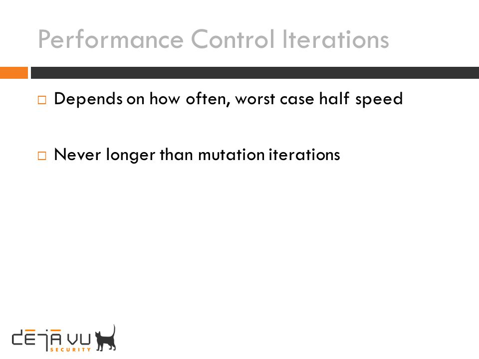 Performance Control Iterations