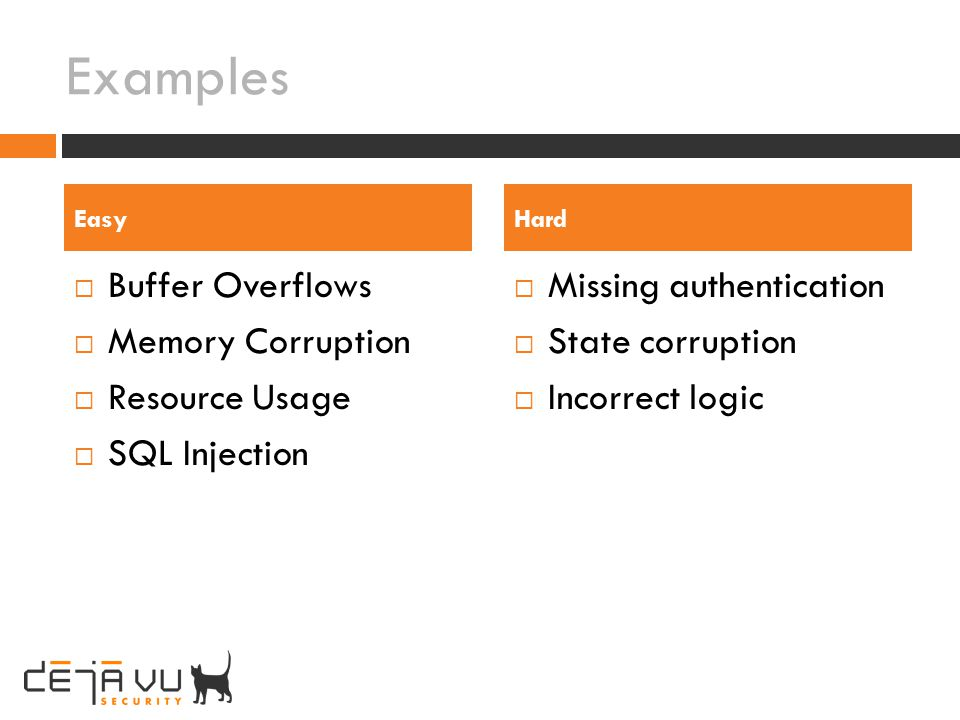 Examples Buffer Overflows Memory Corruption Resource Usage