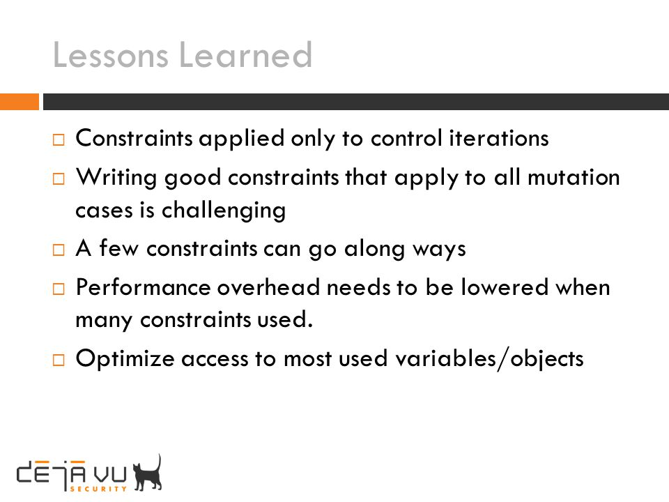 Lessons Learned Constraints applied only to control iterations