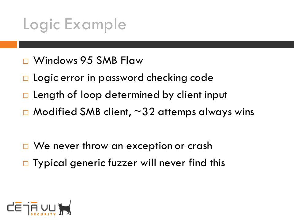 Logic Example Windows 95 SMB Flaw