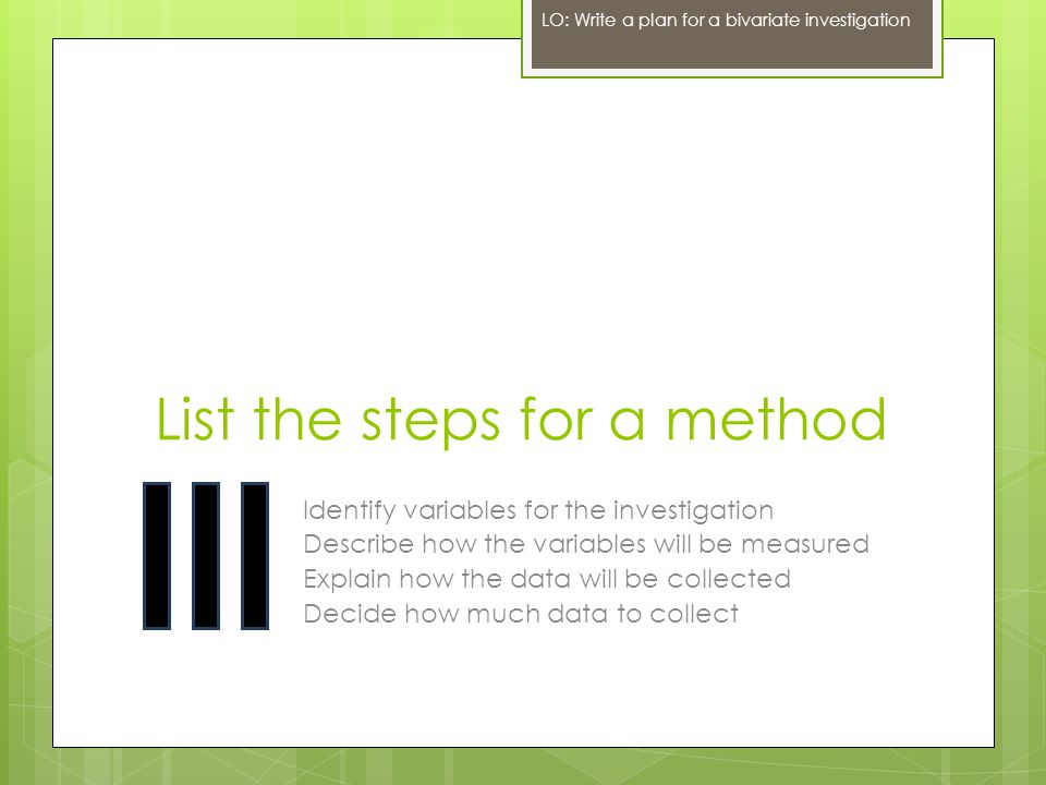 List the steps for a method