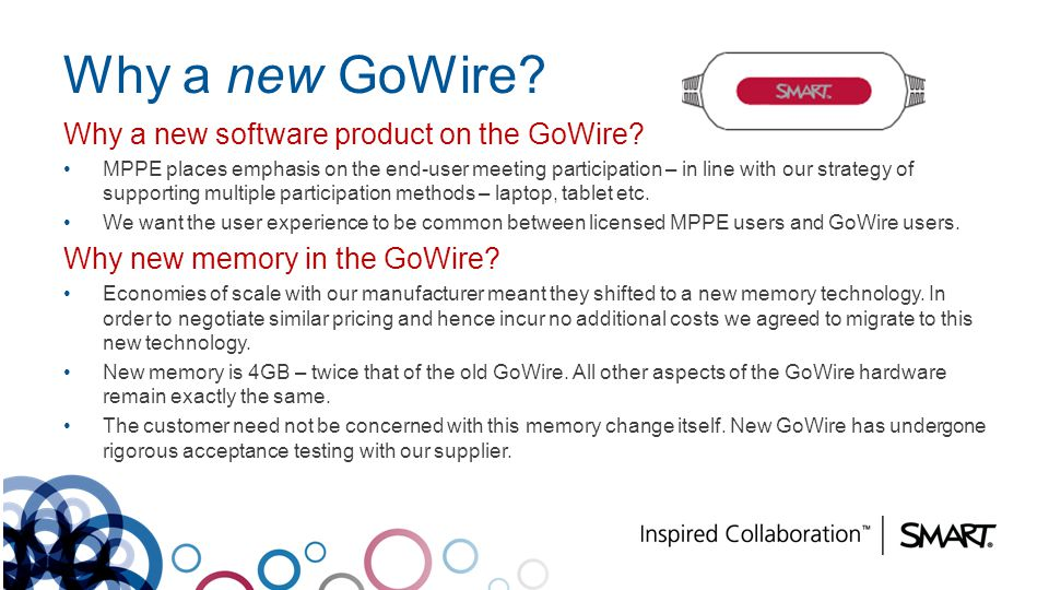 Why a new GoWire Why a new software product on the GoWire