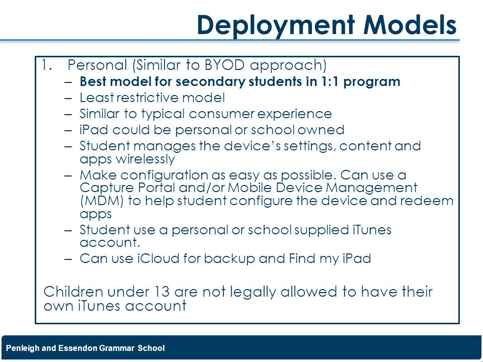 Deployment Models Personal (Similar to BYOD approach)
