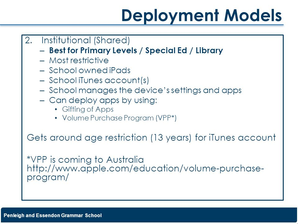 Deployment Models Institutional (Shared)