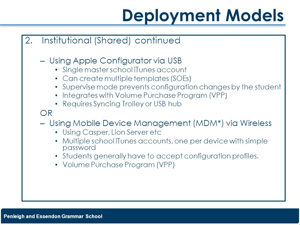 Deployment Models Institutional (Shared) continued