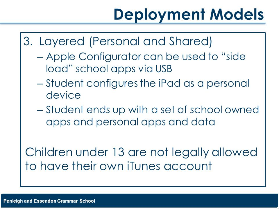 Deployment Models Layered (Personal and Shared)