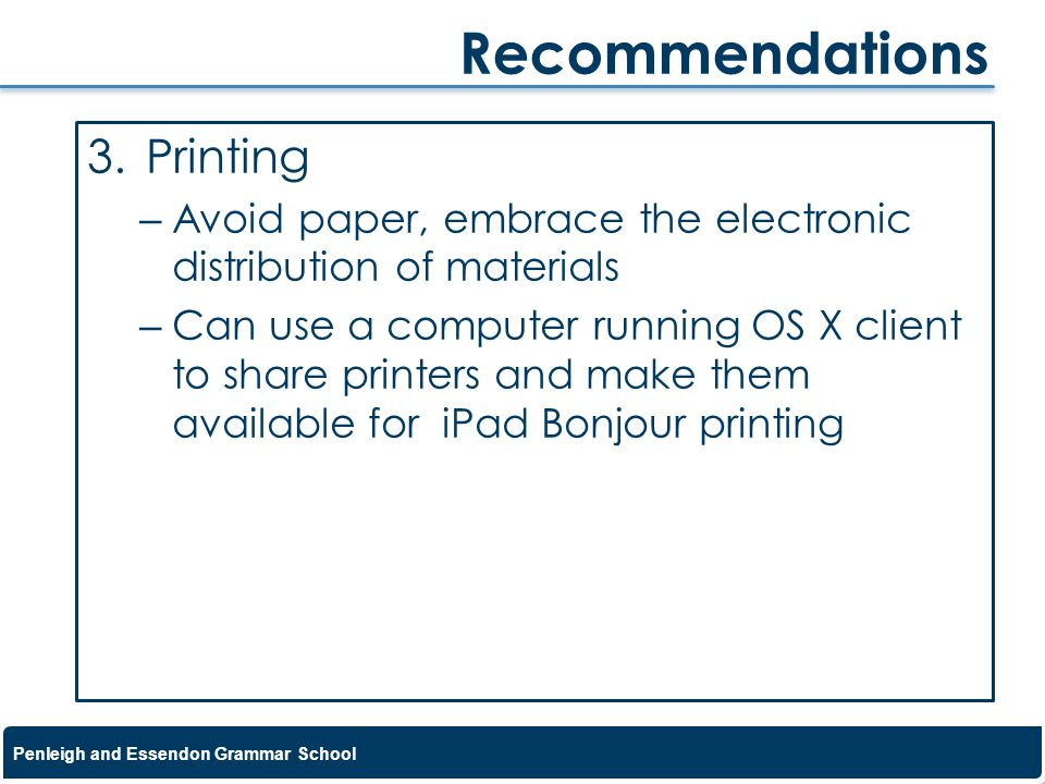 Recommendations Printing